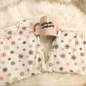 Pink and white snowflake pajama set
